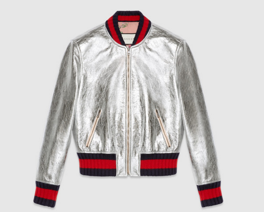 Gucci_Crackle Leather Bomber Jacket
